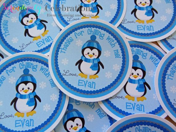 Mr. Blue Penguin Collection Favor Tag -Baby Shower Tags, Personalized Favor Tags, Set of 12 Thank You Tags, Gift Tags -Seasonal -Christmas