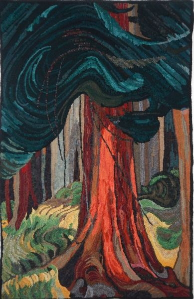 The Red Cedar hooked by Sunny Runnells, adapted from Emily Carr's painting.