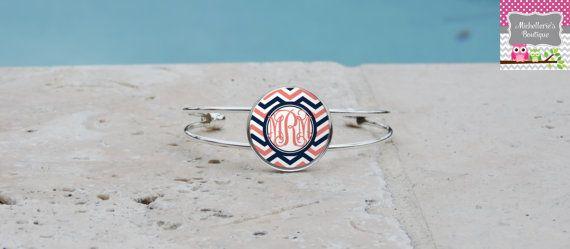Coral and Navy Chevron Monogram Pendant by MichelleriesBoutique, $7.95