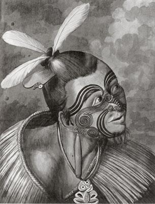 Maori warrior: Sydney Parkinson (c. 1745-1771) pen, wash