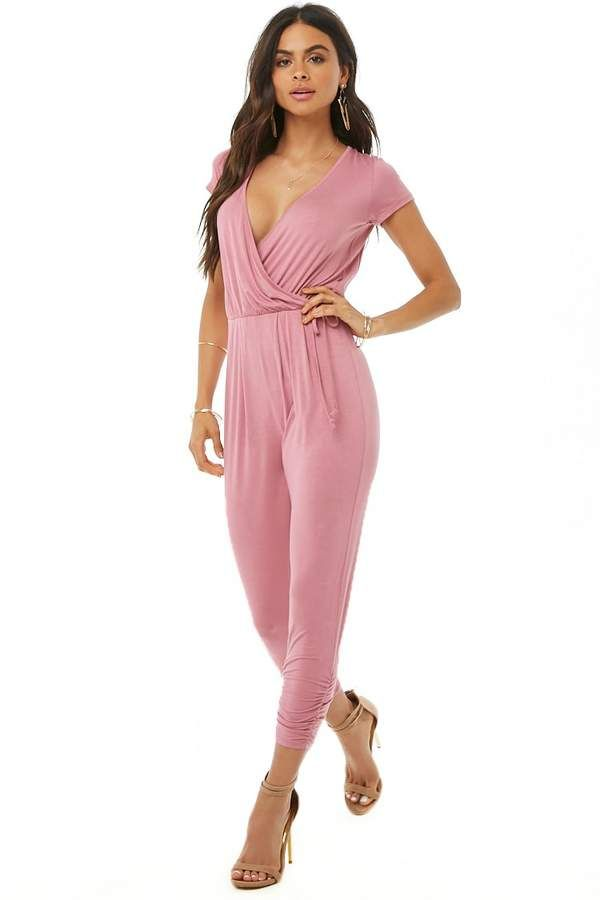 863693ff91b6 Forever 21 Mock Wrap Ruched Jumpsuit - Check it out now  forever21  jumpsuit   womensfashion  fashion  style