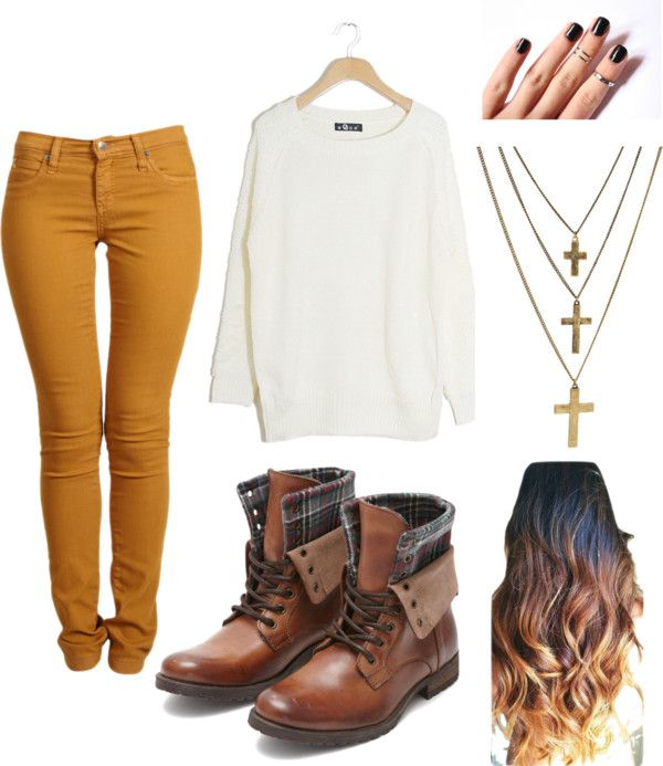 """Mustard Jeans"" by nicolecorrado on Polyvore (change the necklaces of course...)"