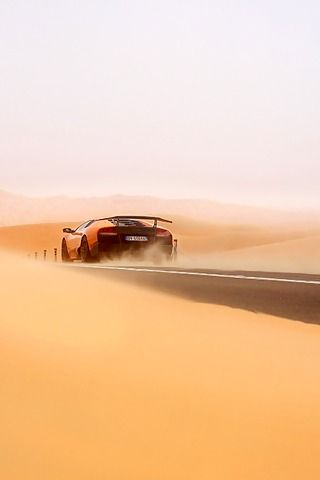 Lamborghini Murciélago LP670-4 SV tearing up the desert.