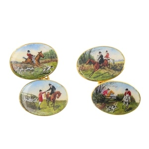 A pair of 1930s 18ct gold hunting theme enamel cufflinks