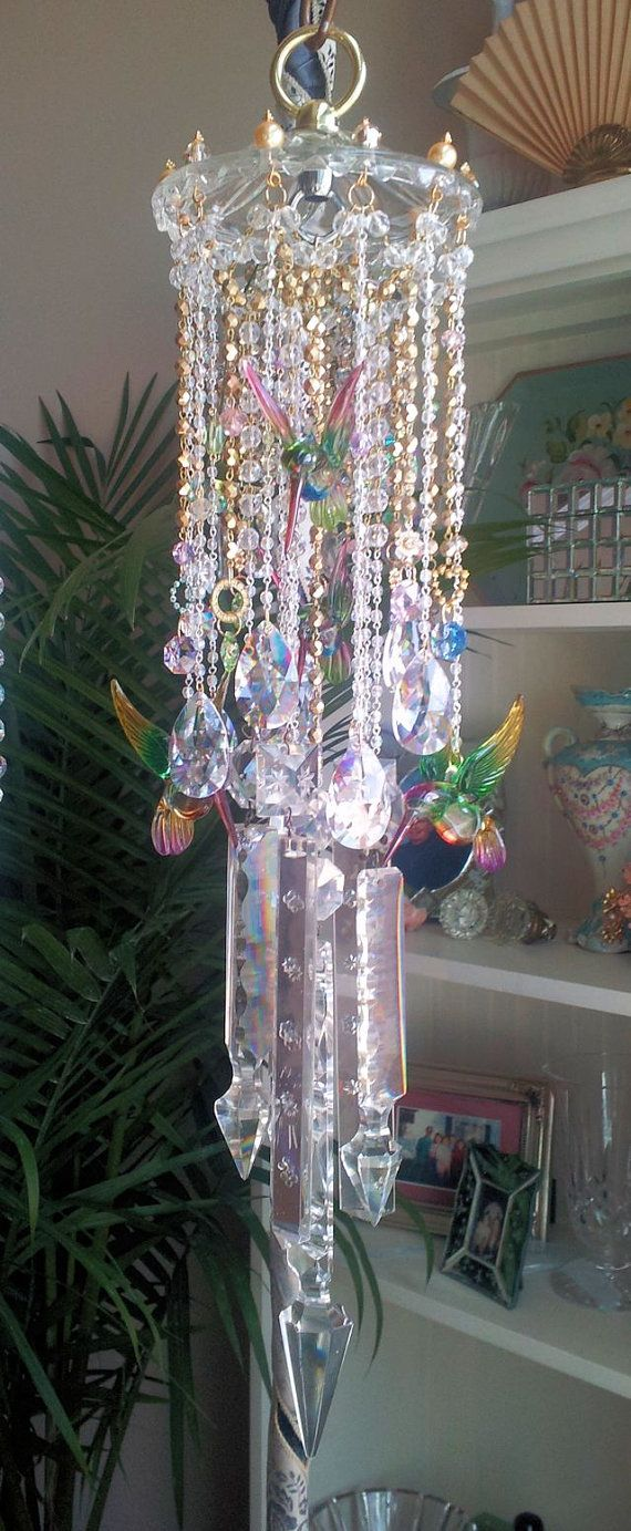 Hummingbirds Carousel Crystal Wind Chime by sheriscrystals on Etsy, $229.95