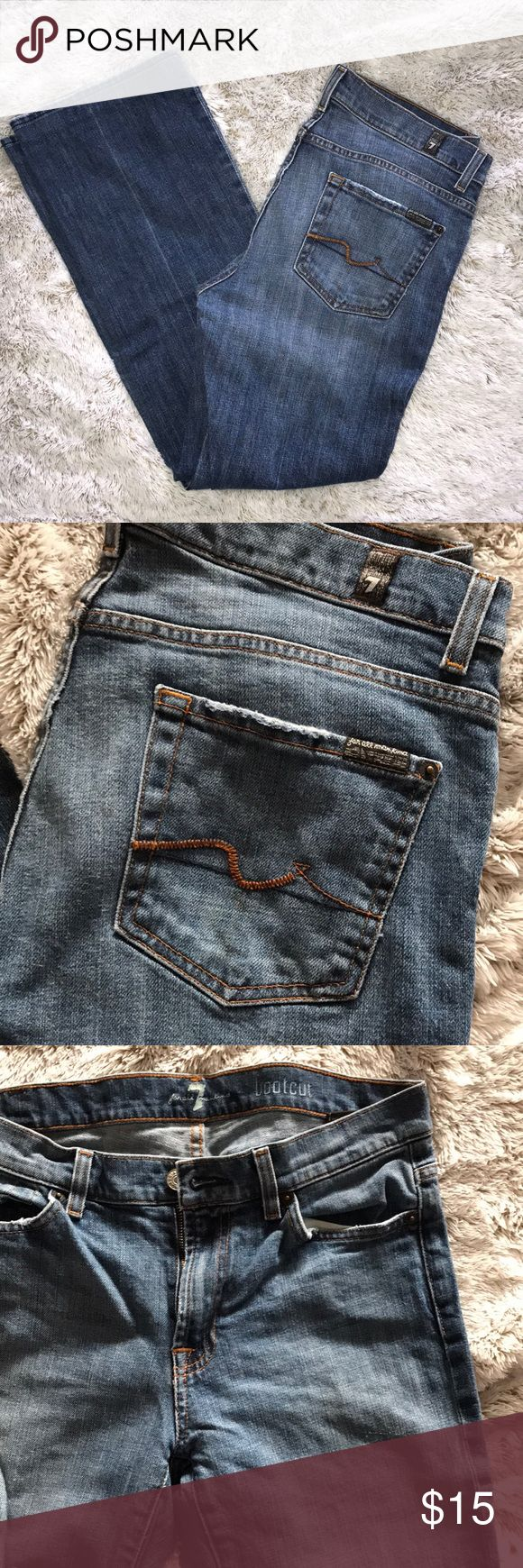 "Men's 7 For All Mankind Bootcut Jeans Pre-loved but in good condition. All fraying in pockets and hem are ""original"" and came with the jeans. Length altered down to 28"". 7 For All Mankind Jeans Bootcut #mensjeansbootcut"