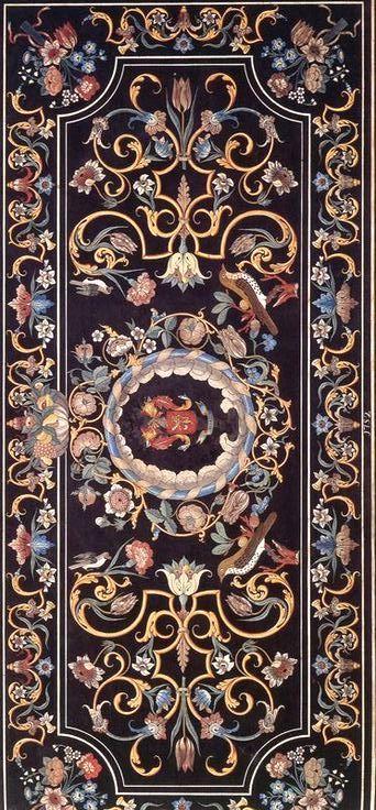 Plateau de table en scagliola, 1752 (collection Bianchi) /via jean jacques wolff