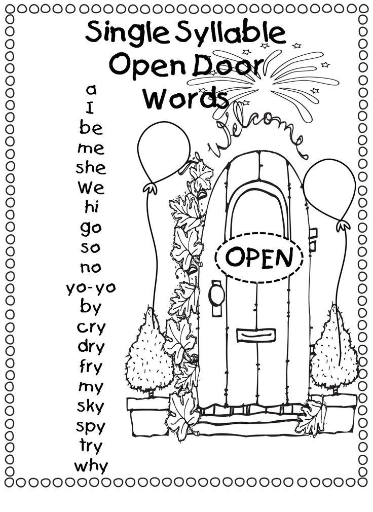"""Single Syllable """"Open Door Words / Open Vowel Words"""""""