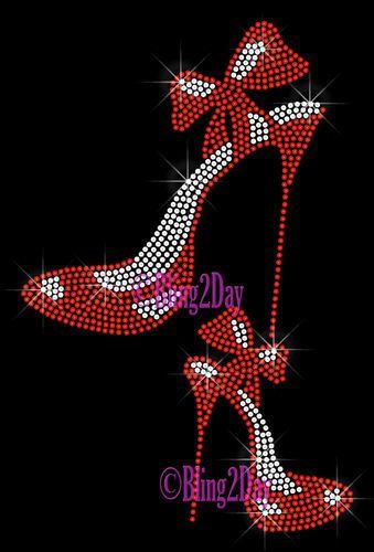 High Heel Shoe Set Iron on Rhinestone Transfer Bling Hot Fix Fashion Diva