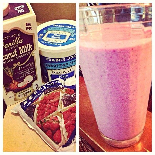 Fruit Smoothie- Frozen berries, coconut milk, plain yogurt, honey and orange juice