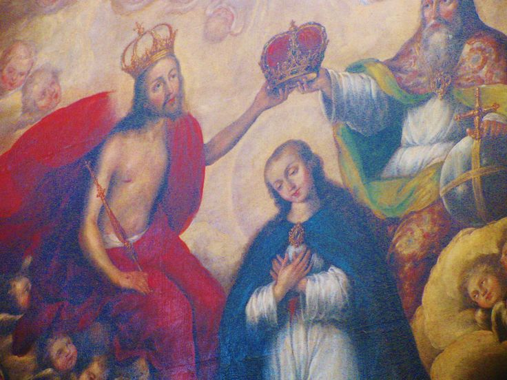 Painting of the Crowning of Mary, Rosary Chapel, Santo Domingo Church, Puebla. MADONNAS OF MEXICO