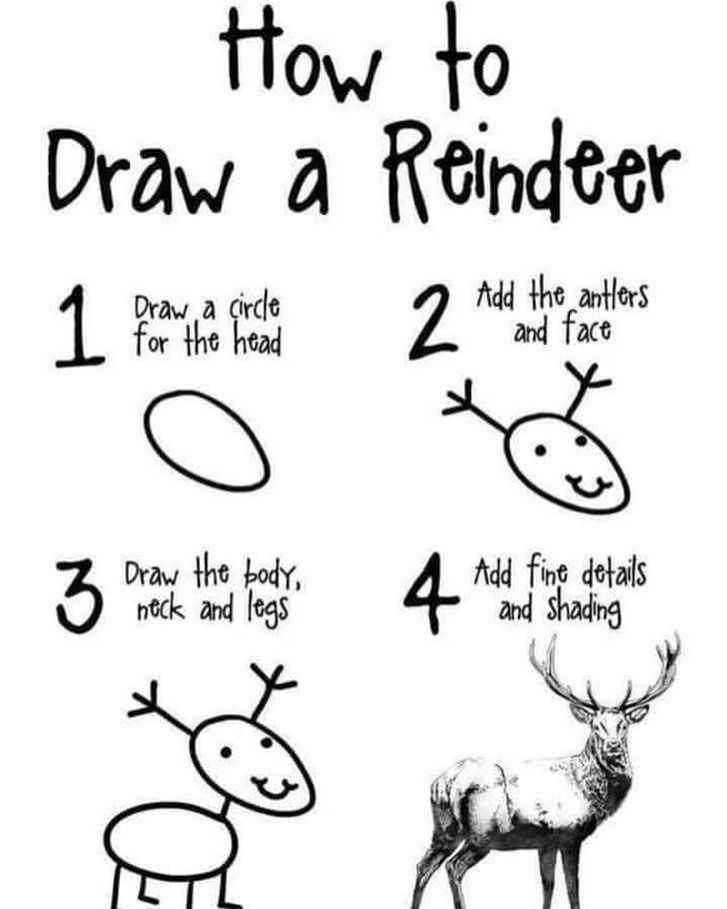 I Am Pretty Sure This Is How My Younger Kiddos Feel Sometimes When We Do Demos Reindeer Drawing Drawing Skills Antler Drawing