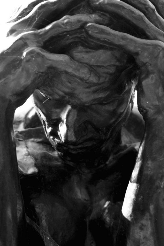 Photograph Black and White Rodin Sculpture of a Man in Paris France