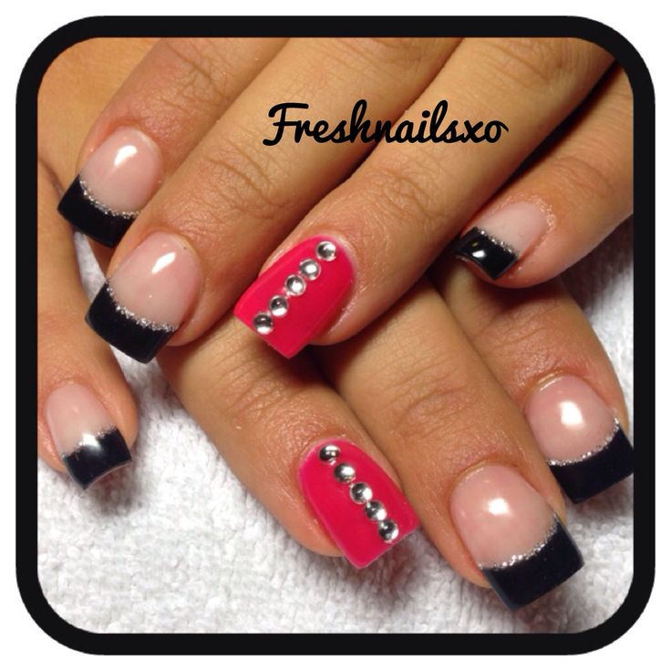 Black And Pink French Tip Nails Black french tip Shell...