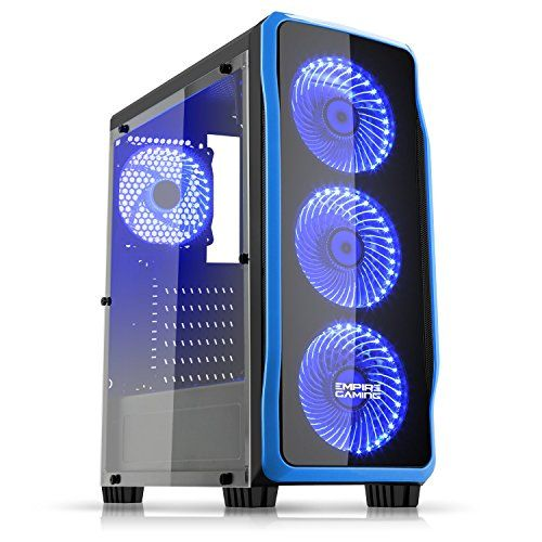 Empire Gaming - Boitier PC Gaming DarkRaw Noir LED Bleu : USB 3.0 et USB 2.0, 4 Ventilateurs LED 120 mm + contrôleur de ventilateurs, paroi latéral 100% transparente - ATX / mATX / mITX #Empire #Gaming #Boitier #DarkRaw #Noir #Bleu #Ventilateurs #contrôleur #ventilateurs, #paroi #latéral #transparente #mATX #mITX