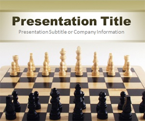 Become a Chess Master with this free PowerPoint template with chess table and chess pieces. You can download this chess game PPT template for presentations or strategy games.