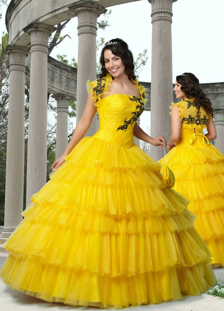 Yellow Quinceanera Dresses | Vestidos de Quinceanera | Yellow gown with black embroidered flowers | Quince fashion