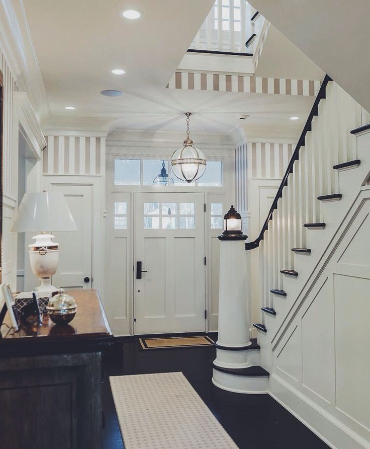 Stunning Hallway With The Banister Of The Staircase Styled As A Lighthouse.  #hallwaysandentrys #