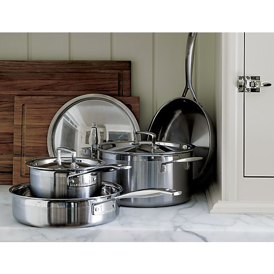 Le Creuset® Tri-Ply Stainless Steel 7-Piece Cookware Set | Crate and Barrel