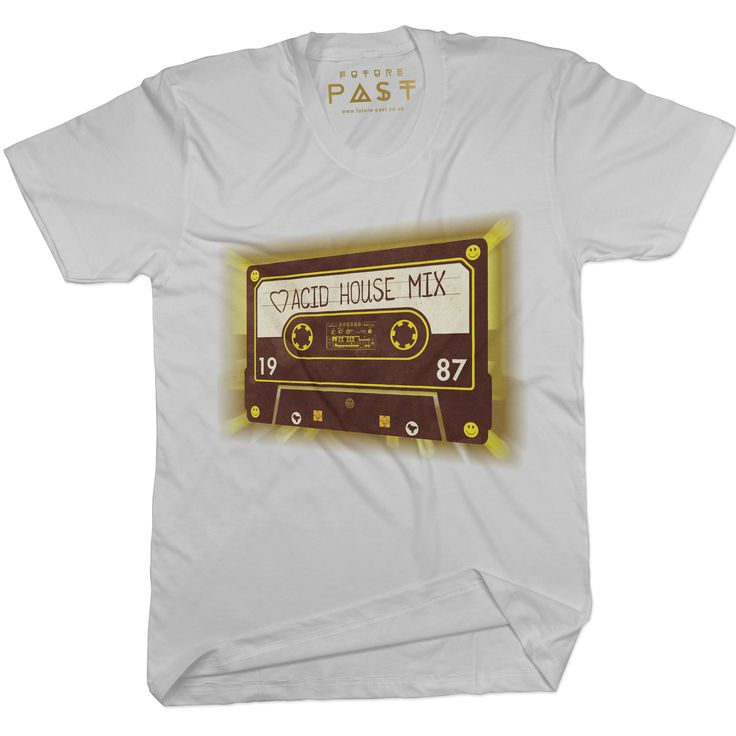 Premium Future Past Clothing Mixtape House T-Shirt / White for only £24.97  Inspired by an acid house mixtape, on a white premium tee. Features various elements of our other designs, and has the TB-303 in the middle. Another truly original design from Future Past Clothing, this is a sublimeand totally unique design you will wear with pride.Prepare to be noticed. #JoyDivision #shoom #RolandTb303 #mixtape #PeterSaville #FactoryRecords #tshirts #FAC51 #AcidHouse #NewOrder