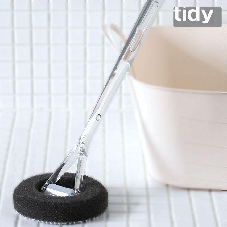 バスタブ掃除用、柄付バススポンジです。。「tidy バススポンジ」【バス用 スポンジ 風呂 掃除 ブラシ バスタブ 浴槽 浴室 お風呂 バススポンジ バスブラシ tidy Handy Sponge Micro Brush 大掃除 スポンジ 黒】【コンビニ受取対応】