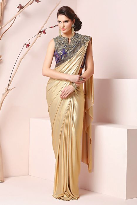 Designer Saree With Perfect Yoke Embellishment Visit @http://sugnamal.com/category/?cat=Shop+Women&&subcat=Sarees Contact: 8418888893 #saree #designer_saree #stiched_saree #golden_saree #saree_gown #yoke_embellishment #designer_blouse #party_wear_saree  #Ethnic #couture #indowestern #shop_online #fashion_sugnamal