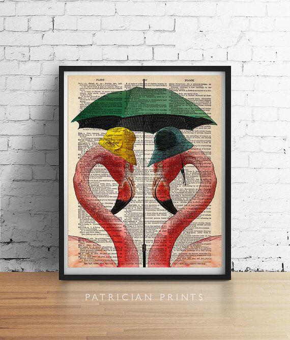 Pink FLAMINGOS Print Tropical Beach Decor Love by PatricianPrints