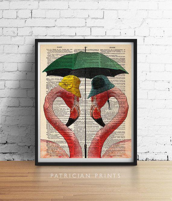 Pink FLAMINGOS Print Tropical Beach Decor Love by PatricianPrints