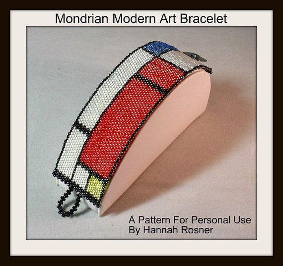Bead Pattern Mondrian Modern Art Beaded Bracelet tutorial instructions
