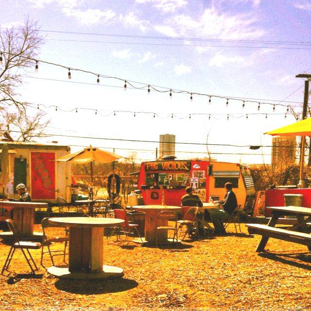 MUST SEE/DO in AUSTIN -1001 E 6th St Austin, TX 78702 Food Truck Trailer Park!! Lots of yummy amazing places to try.... Pig Vicious with bacon wrapped fried pickle spears, Firefly pies with the best pizza crust I've EVER had, and LoveBalls with Japanese inspired balls full of inventive flavor.