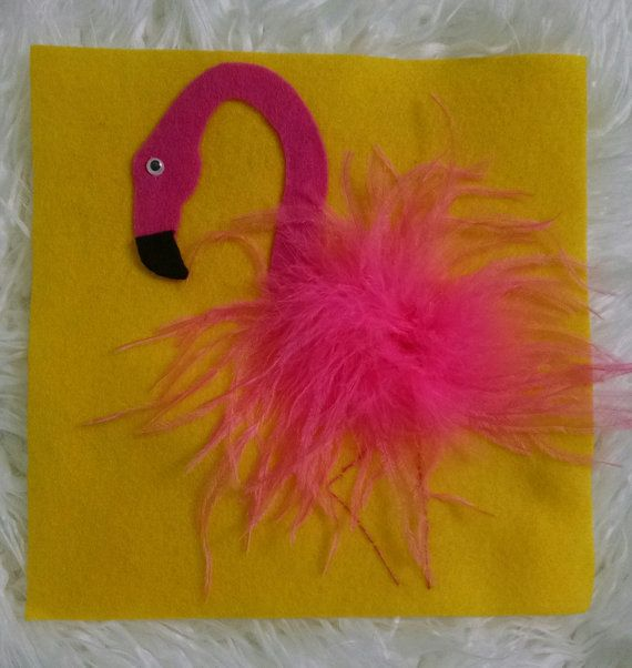 Flamingo Tactile Quiet Book Page