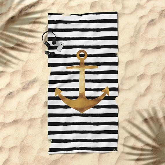 Oversized Beach Towel Anchor And Stripes Gold Black And White