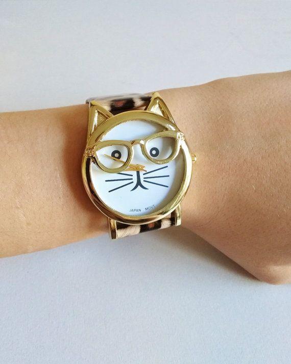 Leopard Print Cat Wrist Watch - cat jewelry, kitten watch, womens watches, hipster watch, unique watches, leopard print jewelry