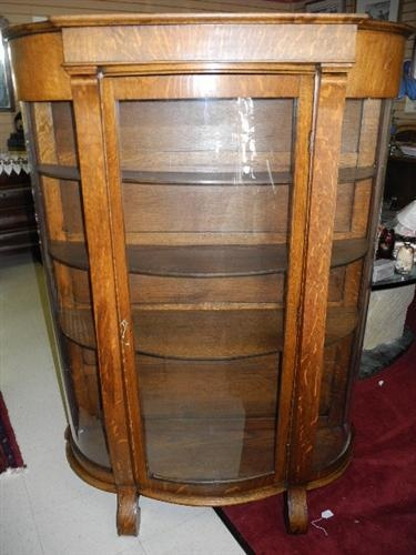 Beautiful Antique Curved Glass China Cabinet Value