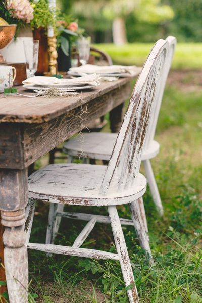 shabby chic chairs + farm table | Ashleigh Jayne #wedding