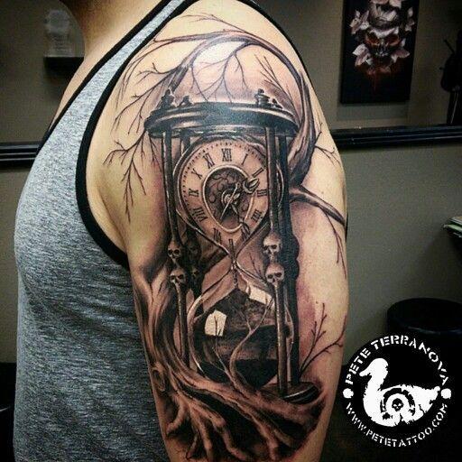 Black and gray custom hourglass tattoo: