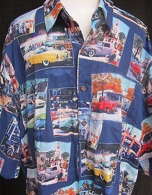 Reyn Spooner Classic Cars Ford Motor Company Hawaiian Shirt Size XL Rayon Aloha