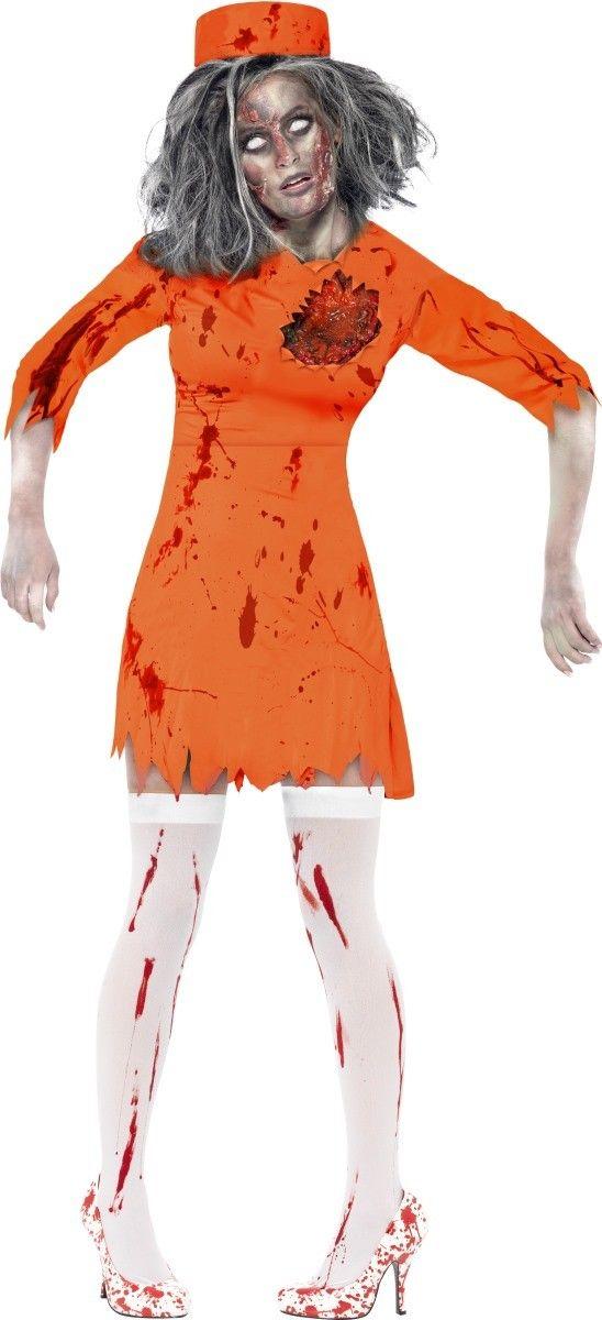 Déguisement zombie prisonnière femme Halloween : Ce déguisement de zombie prisonnière est pour femme.Il se compose d'une robe et d'un chapeau (bas et chaussures non inclus).La robe orange possède une fausse plaie en...