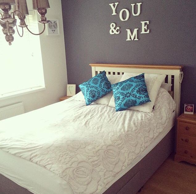 Master bedroom. #grey #turquoise