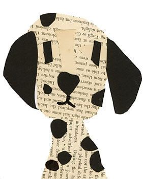 Newspaper and black paper dalmation collage. Super cute; but I'd need fade-proof…