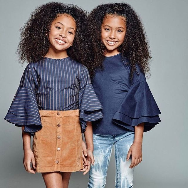 ". Gorgeous two sisters ✨in @sheenmagazine upcoming issue! Thank you so much!!Anais and Mirabelle in Cooper tops. - @sheenmagazine 이번달 화보에 아름다운 두 자매✨ - RepostBy @anaismirabelle: ""Will Beyoncé's future twins look like us??  Loved these outfits and this shoot❤  Photo: @lenamelnik  Hiarstylists: @straight_outta_booshie @keerv_dollfvce  Designer of tops: @airfish_official  #models #modelhair #modeling #modellife #fashion #fashionista #fashionkids #twinmodels #childperformer #curlyhair #mixedkids…"