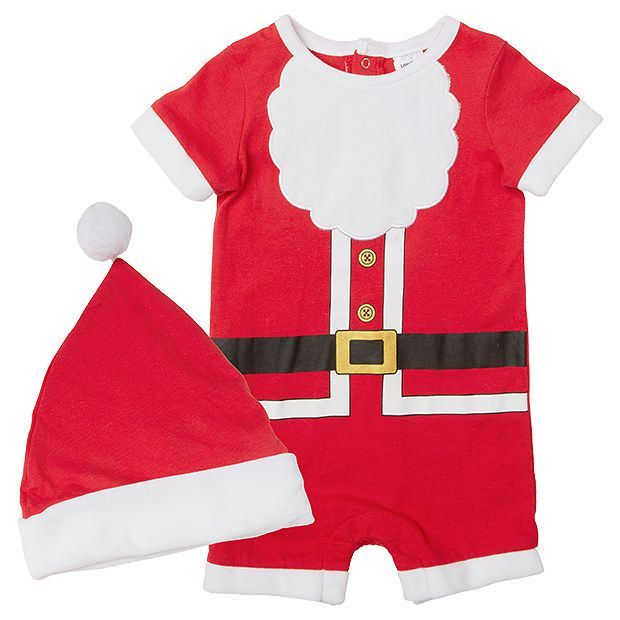 Baby Christmas Santa Romper And Hat Set