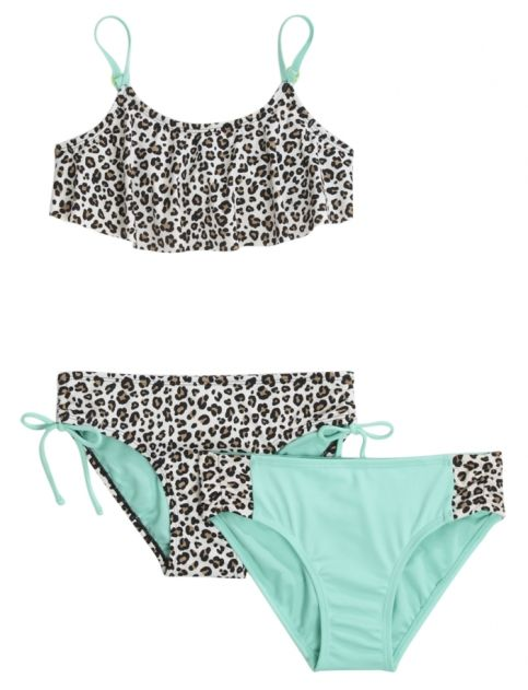 3 Piece Cheetah Flounce Bikini Swimsuit | Justice