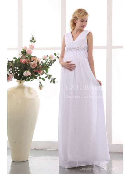 74% Off White Chiffon Empire Wedding Dress Floor-length with Ruching MS78QG505