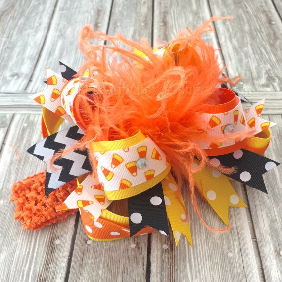 Candy Corn Over the Top Halloween Bow,Orange and Black Hair Bows,Halloween Baby Headband,Halloween Bows,Big Bows,Baby Hairbows,Girls Bows