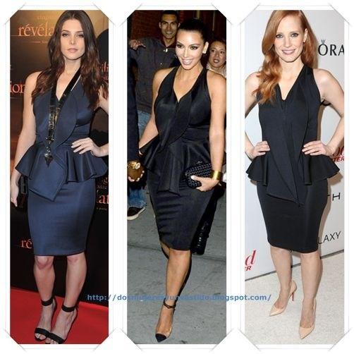 Un vestido de Givenchy Resort 2012 lo han llevado Ashley Greene en una premiere de Crepúsculo; Kim Kardashian lo llevo para ir a una cena; y Jessica Chastain en una fiesta de los nominados.