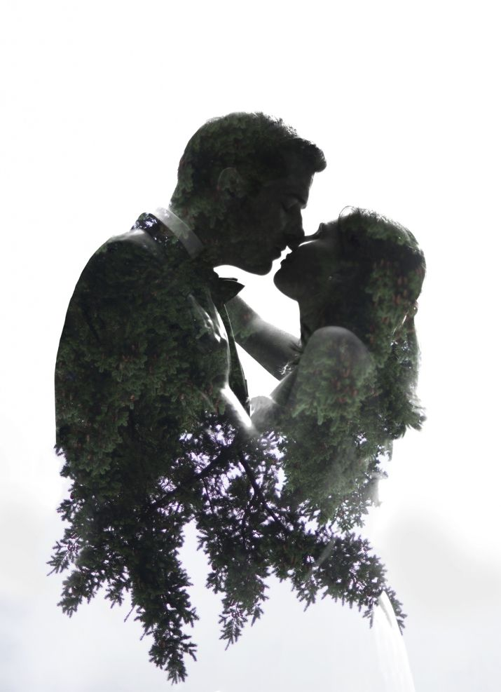 Double Exposure Portrait // Bride and Groom // Jarusha Brown Photography // GALIANO ISLAND ELOPEMENT, gulf island elopement, Vancouver elopement photographer, gulf island wedding photographer, Galiano Inn wedding, Galiano Island