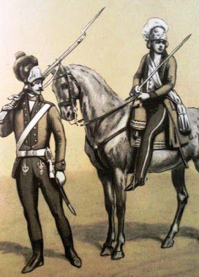 Epoka stanisławowska: Regiment Gwardii Pieszej Koronnej 1792-94 r. Od lewej: szeregowy 1794, szef regimentu 1792. Rys. B. Gembarzewski.