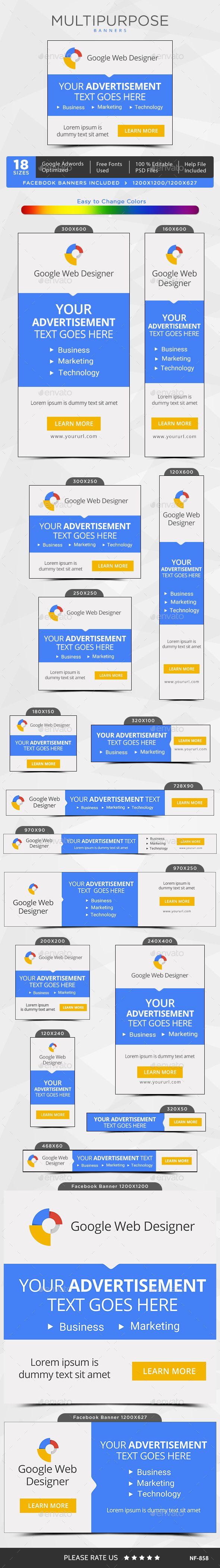 Multipurpose Web Banners Template PSD #design #ads Download: http://graphicriver.net/item/multipurpose-banners/13876779?ref=ksioks