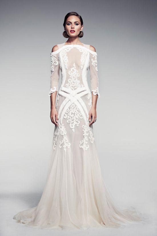 nude effect wedding dress #weddingdress #weddinggown #lace #satin #tulle #elegance #unusual #unconventional #princessgown #princess Pallas Couture #pallascouture #pizzo #morbido #soft #jewels #swarovski  more on http://sissyinwhite.org/2014/02/16/special-stylist/#more-172 #silhouetteweddingdress #silhouettedress